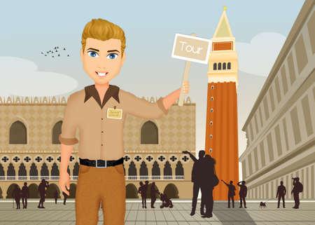 tour guide in Venice Stok Fotoğraf