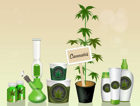 illustration of cannabis products