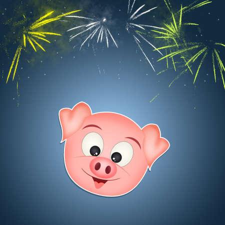 illustration of pig face