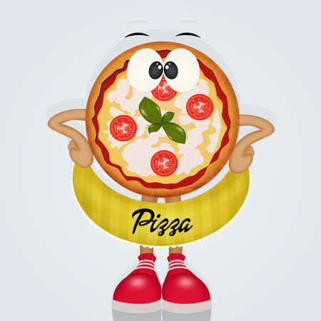 funny pizza with shoes vector illustration