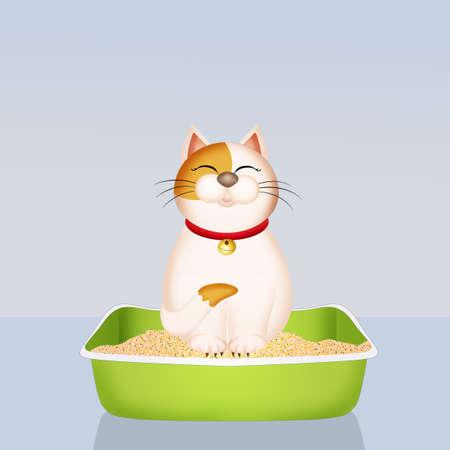 cat in the litter vector illustration