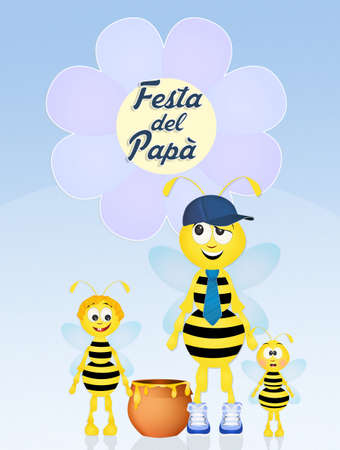 bee dad for Fathers day vector illustration