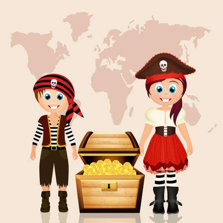 pirate child and treasure hunt vector illustration