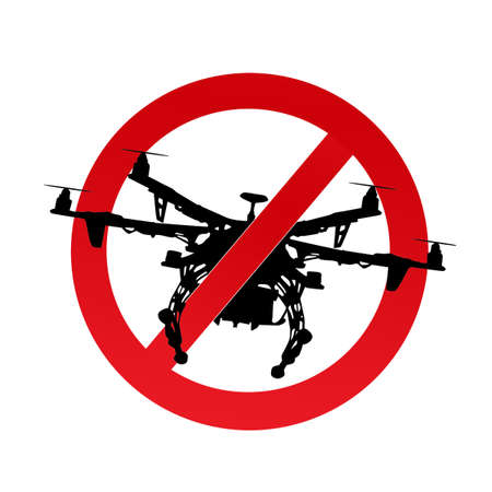 the use of the drone is prohibited icon vector illustration