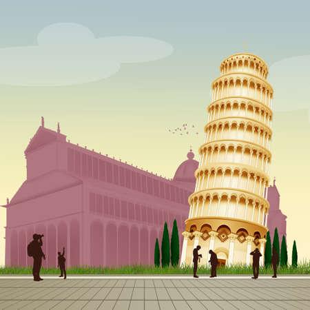 illustration of the tower of Pisa Stok Fotoğraf