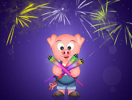 pig with fireworks explosion vector illustration