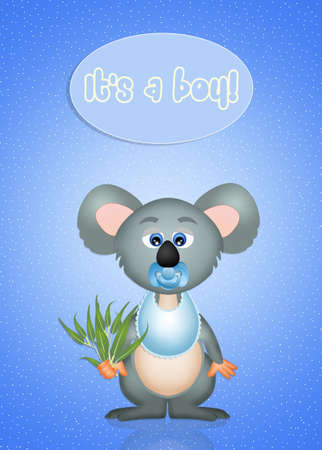 greeting card baby koala with text its a boy vector illustration