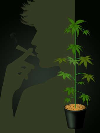 man smoke marijuana vector illustration