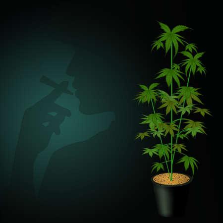 man smokes marijuana vector illustration