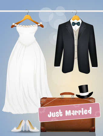the clothes for the bride and groom