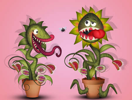 illustration of carnivorous plants