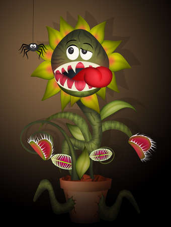 carnivorous plant eat spider Stock Photo