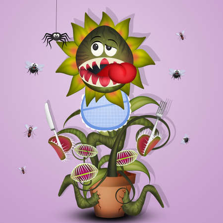 carnivorous plant with cutlery and bib