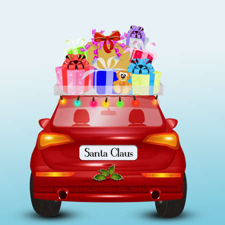 illustration of the Santa Claus car brings the gifts Stock Photo