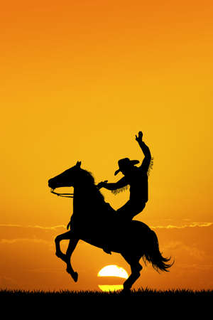 Rodeo cowboy at sunset