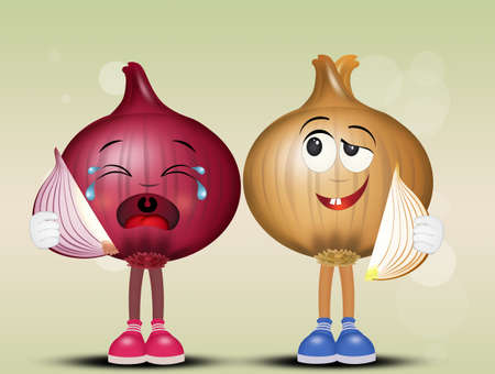 illustration of funny onions couple