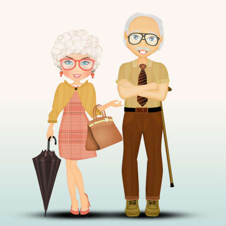 23 853 Old Man Woman Stock Illustrations Cliparts And Royalty Free