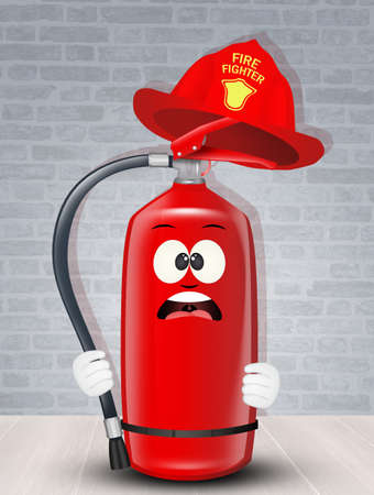funny illustration of fire extinguisher and firemans helmet