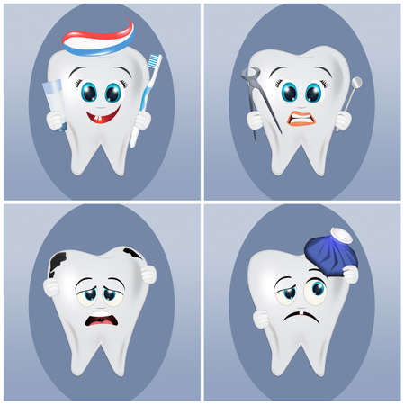 various illustrations of the teeth Banque d'images - 109844089