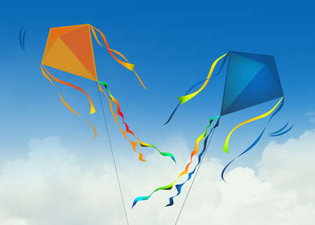 illustration of two kites in the sky Фото со стока