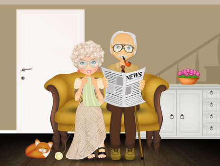 grandparents on the couch
