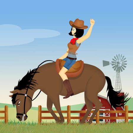 girl on a rodeo horse Stock fotó