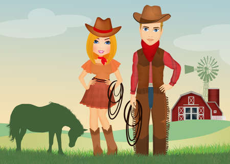 cowgirl and cowboy on the farm Banco de Imagens