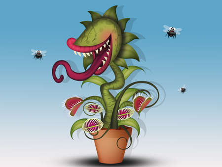 funny illustration of carnivorous plant