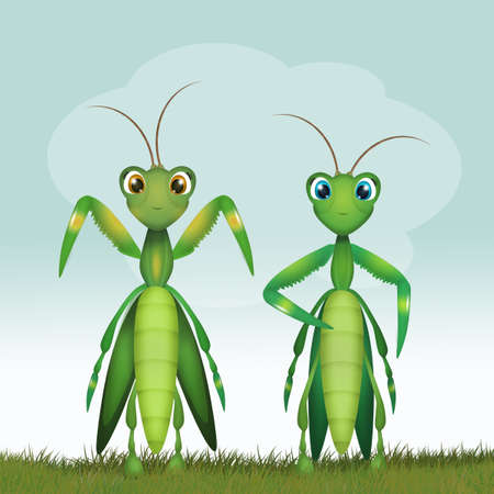 funny illustration of mantis couple Stock Photo