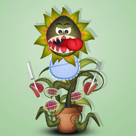 illustration of carnivorous plant with cutlery and bib