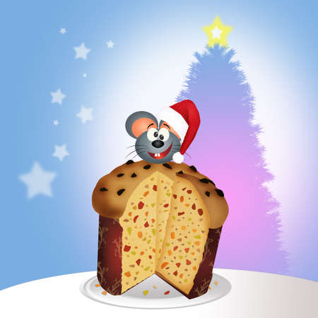 mouse on panettone at Christmas