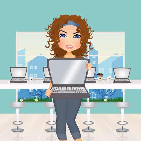 illustration of internet cafe