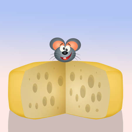 mouse on cheese Stock Photo