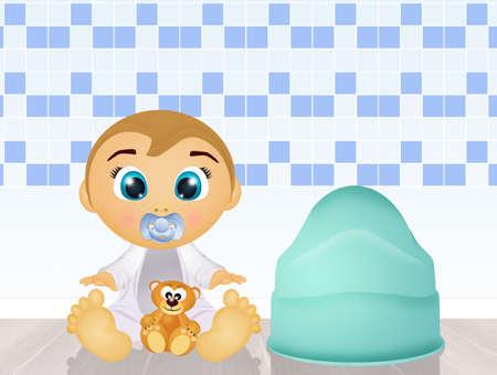 baby with the potty night Standard-Bild