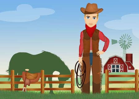 cowboy in the farm Imagens