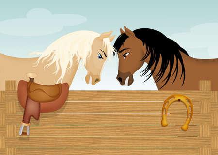 horses in the barn Imagens