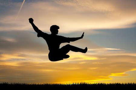man kung fu at sunset
