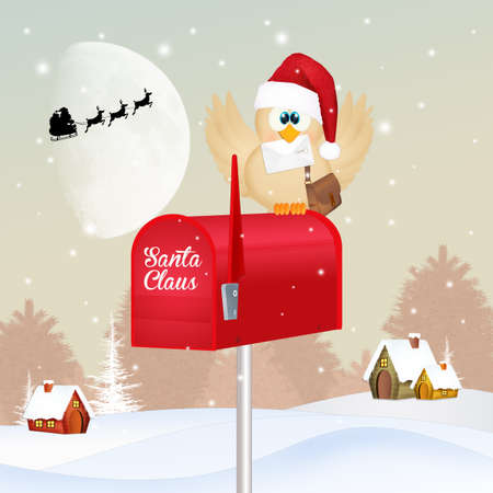 illustration of bird with Christmas mail