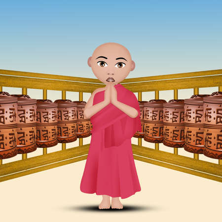 illustration of Buddhist prayer wheels