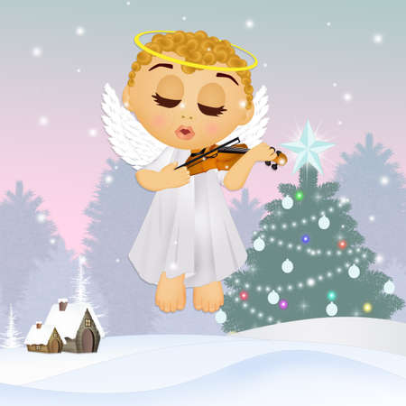 little angel plays the violin at Christmas