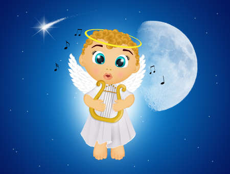 angel plays the harp with isolated background. Imagens