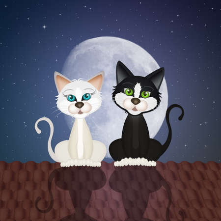 illustration of two cats on the roof