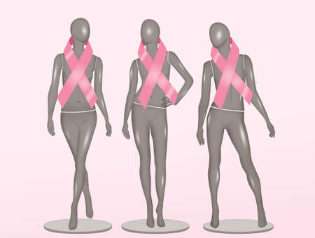 female mannequins with breast cancer ribbon