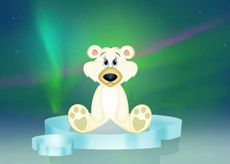 illustration of white bear on iceberg in the northern lights