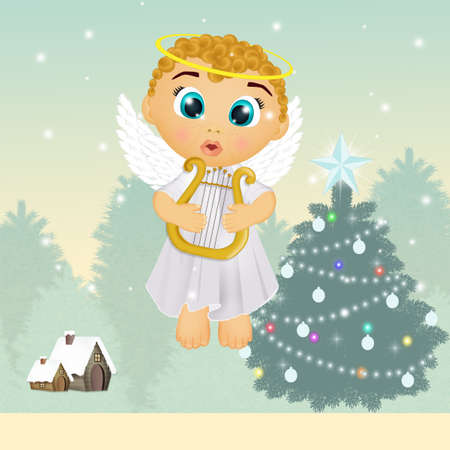 little angel with harp at Christmas Imagens