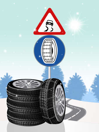 slippery road sign and chain obligation illustration background. Standard-Bild - 112175404