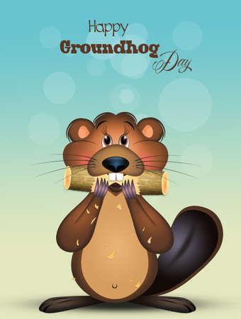 happy groundhog day illustration background. Stock Photo