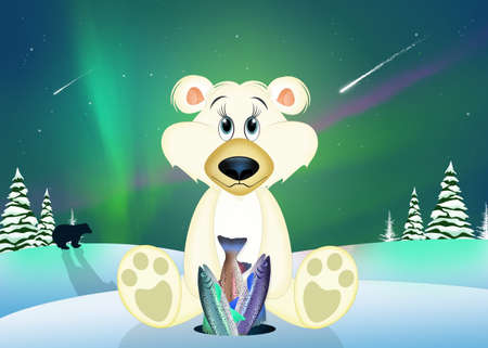 funny illustration of white bear in the Arctic landscape