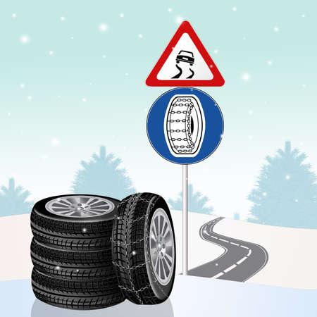 illustratie van glad verkeersbord en kettingverplichting Stockfoto