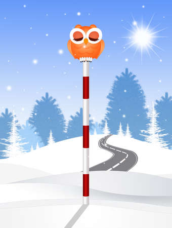 owl on pole sign Stockfoto